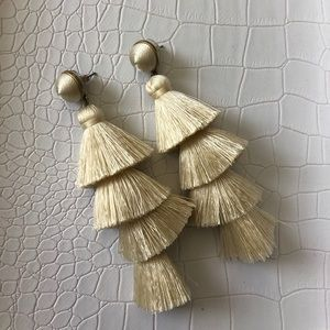 BaubleBar Ivory Tassel Earrings